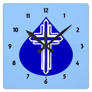 White Cross in Blue Teardrop Wallclocks