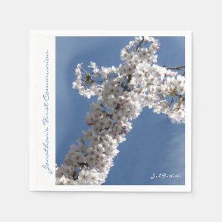 White Cross on Blue Sky 1st Communion Personalized Paper Napkin
