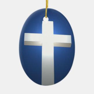 White cross, pendant ceramic oval decoration