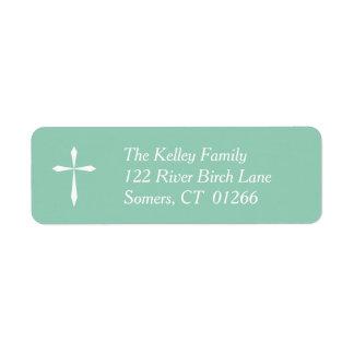 White Cross Religious Address Label, Mint Return Address Label