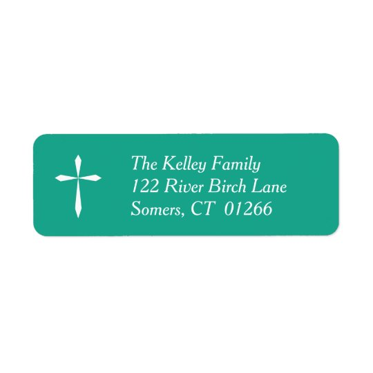 White Cross Religious Address Label, Teal Return Address Label