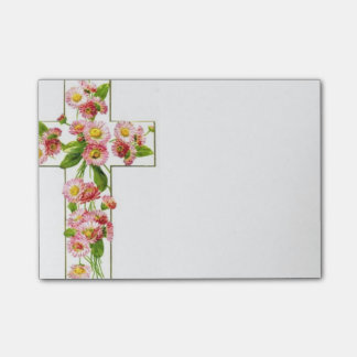 White Cross With Pink Flowers Post-it Notes
