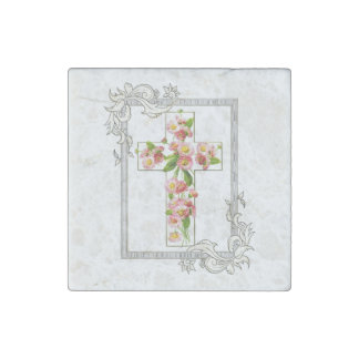 White Cross With Pink Flowers Stone Magnet