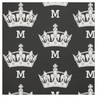 White Crown Monogram Personalized Fabric