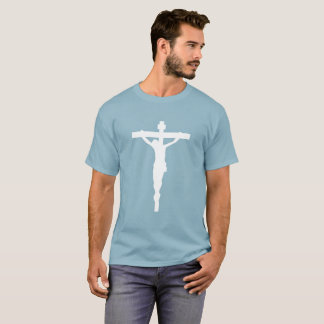 White Crucifix T-Shirt Christian Catholic Jesus