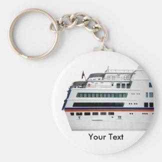 White Cruise Ship Covered Decks Keyring Basic Round Button Key Ring