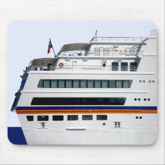 White Cruise Ship Covered Decks Mousepad