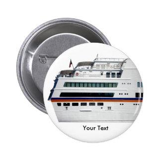 White Cruise Ship Covered Decks Name Tag Button
