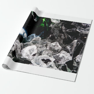 White Crystals in Black outer space Wrapping Paper