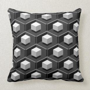 White Cube Pattern Isometric Cushion