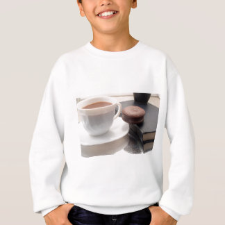 White cup of hot chocolate and cookies sweatshirt
