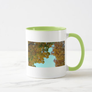 White cup two-color pencil and green Autumn