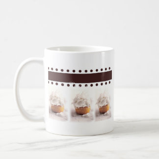White Cupcakes on Brown Background Business Items Basic White Mug