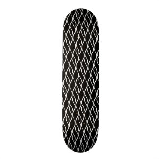 White Curvy Vertical Line Pattern Black Background Custom Skate Board