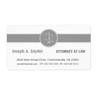 White Custom Background Attorney Legal Business Shipping Label