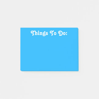 White Custom Text | Bright Blue Post-it Notes