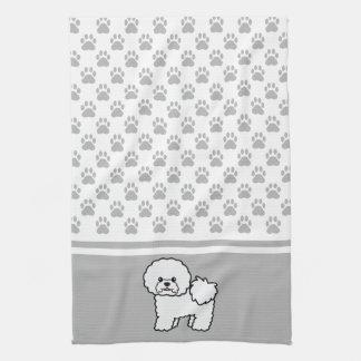 White Cute Bichon Frise Dog With Grey Paws Pattern Tea Towel