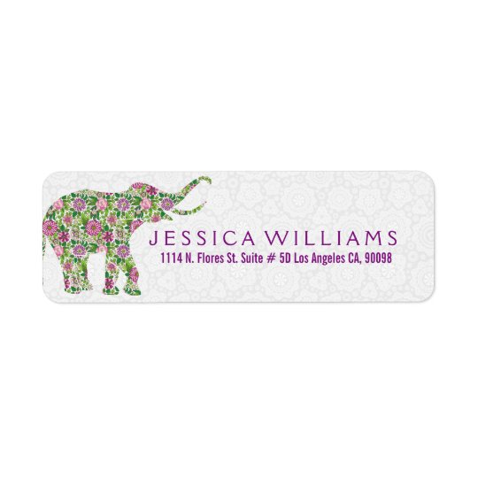 White & Cute Colourful Floral Elephant 2 Return Address Label