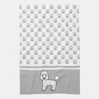 White Cute Toy Poodle Dog And Grey Paws Pattern Tea Towel