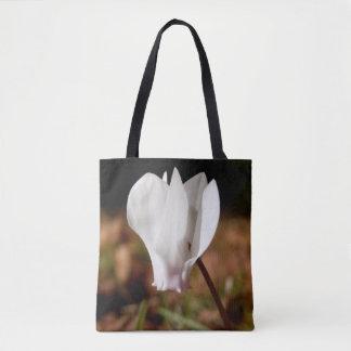White Cyclamen All Over Print Tote Bag