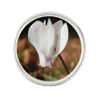 White Cyclamen Lapel Pin