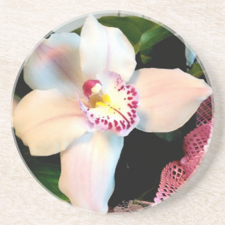 White Cymbidium Orchid Coaster