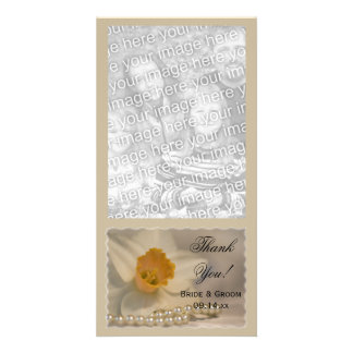 White Daffodil and Pearls Wedding Thank You Photo Cards