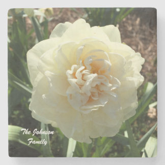 White Daffodil Customize your family Stone Coaster