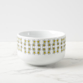 white daffodil soup mug