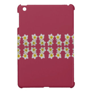 white daffodils on pink i-pad mini case cover for the iPad mini