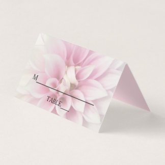 White Dahlia Floral Wedding Place Card