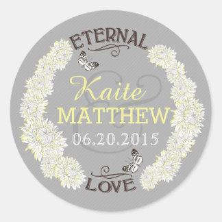 White Dahlia Wreath Wedding Label Round Sticker