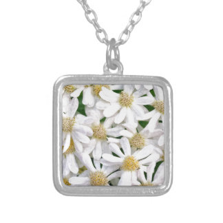 White dahlias silver plated necklace