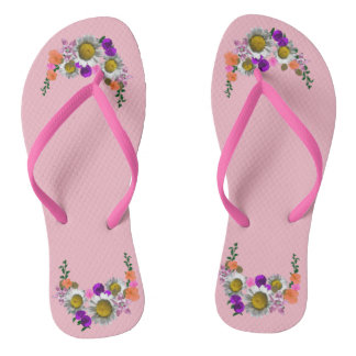 White Daisies accent Pink on White Thongs