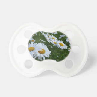 white daisies baby pacifiers