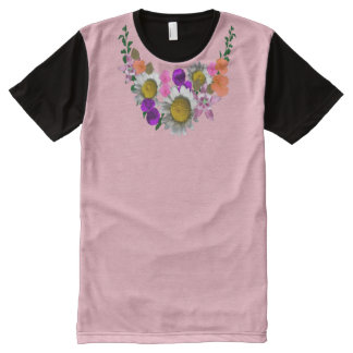 White Daisies Bouquet accent Pink Up to XXL All-Over Print T-Shirt