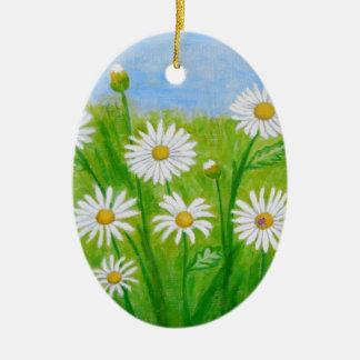 white daisies ceramic oval decoration