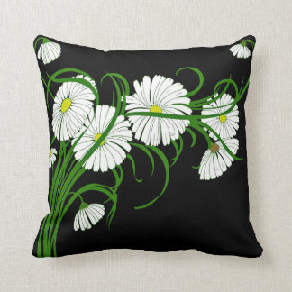 White Daisies Contrasted on Black Background Throw Cushion