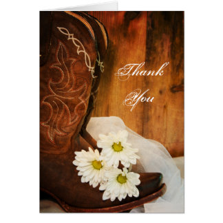 White Daisies Cowboy Boots Bridesmaid Thank You Note Card