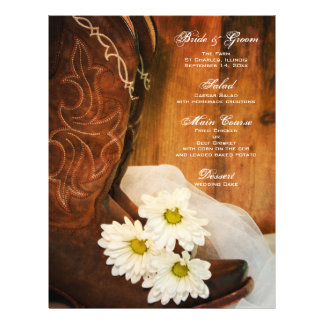 White Daisies Cowboy Boots Country Wedding Menu 21.5 Cm X 28 Cm Flyer