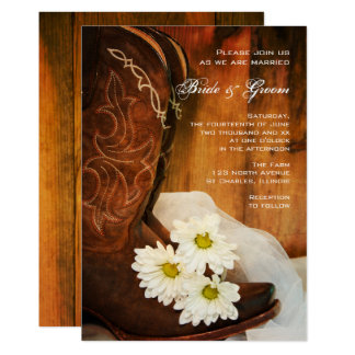 White Daisies Cowboy Boots Country Western Wedding 13 Cm X 18 Cm Invitation Card