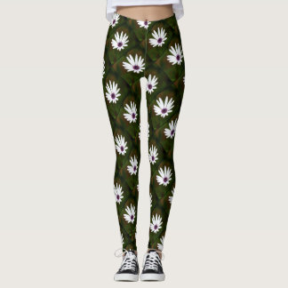 White Daisies design pattern leggings