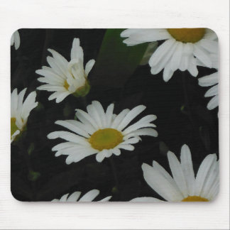 White Daisies Flowers Americana Folk Art Mouse Pad