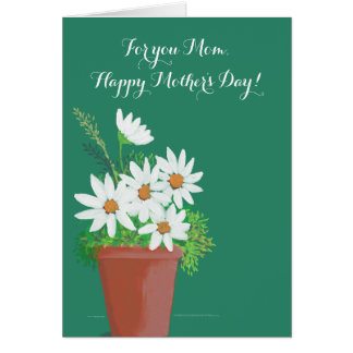 White Daisies in Terra Cotta Watercolor Painting Card