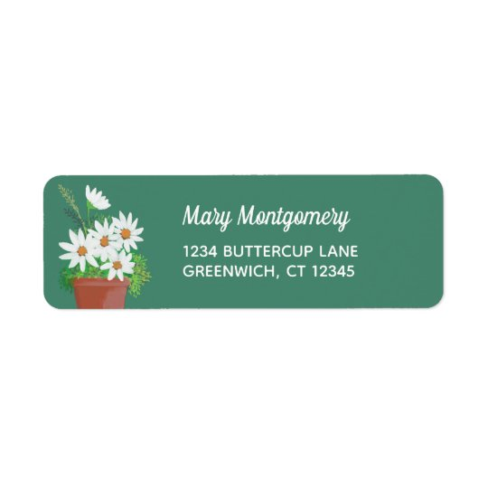 White Daisies in Terra Cotta Watercolor Painting Return Address Label