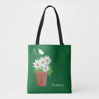 White Daisies in Terra Cotta Watercolor Tote Bag