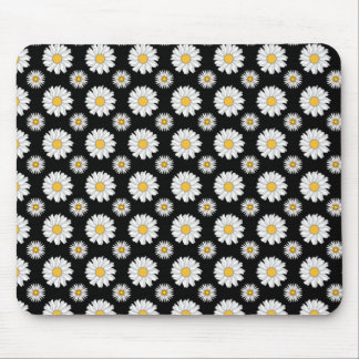 White Daisies on Black Background Mouse Pad