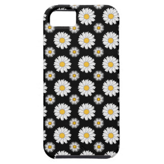 White Daisies on Black Background Tough iPhone 5 Case