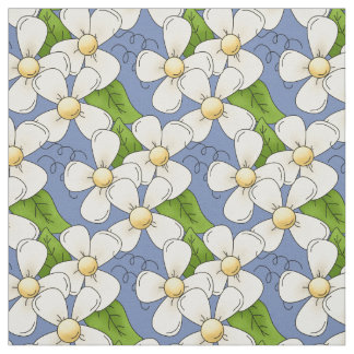 White Daisies on Blue Fabric
