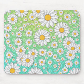 White Daisies on Blue Green Background Mousepads